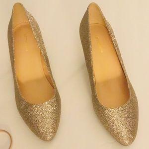 NWOB Liz Claiborne Gold Glitter Kitten Heels, 8W